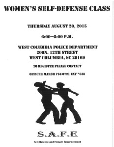 City of West Columbia conducting Women's Defense Class