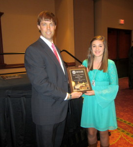 Lauren Pope selected student of the year. Pictured with Vaughan Dozier, C-WC Chamber Board chairman.