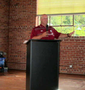 Gamecock Baseball Coach Chad Holbrook addresses C-WC Chamber Breakfast