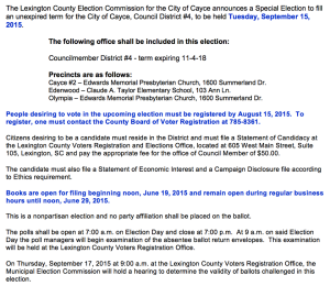 Cayce releases information regarding Sept. 15, special election