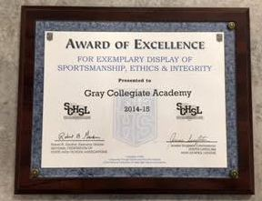 "Gray Collegiate gets ""Award of Excellence"""