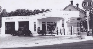Gulf station at Meeting and State, then and now