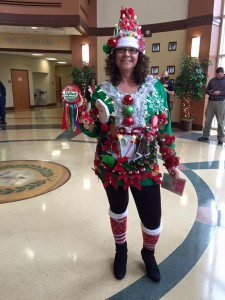 Tracy, of the WCPD, wins Christmas Ugly Sweater contest