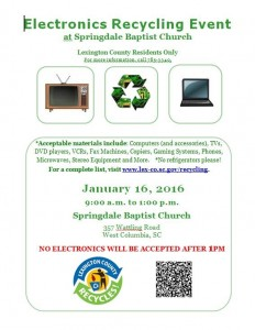 Electronics waste recycling drop-off in Springdale, Jan. 16