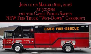 Cayce to hold ceremony for new fire truck, March 16