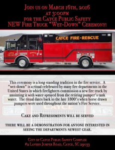 "Cayce new fire truck ""Wet-Down"" ceremony is March 16"