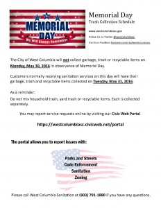 West Columbia city offices closed Monday, for Memorial Day