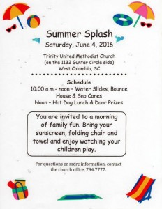 Splash in the summer at Trinity Methodist Church, Saturday