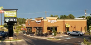 Outside work, signs complete on West Columbia Salsarita's, Starbucks
