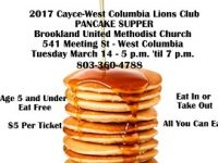 Cayce-West Columbia Lions Club Pancake Supper is Tuesday