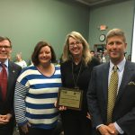 Assistant Principal Mary Brooks and Anna Richburg receiving the Top Contributor of the Lex. 2 elementary schools.