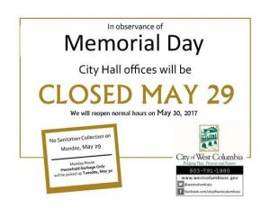 West Columbia City Hall closed Monday for Memorial Day, releases sanitation information