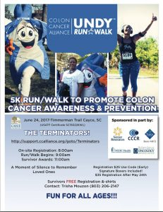 Cayce 5K Run/Walk for colon cancer prevention is June 24