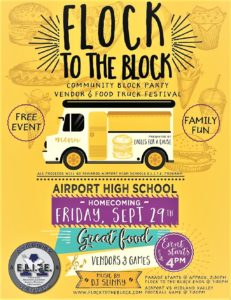 Flock to the Block Party being held with Airport High School's Homecoming