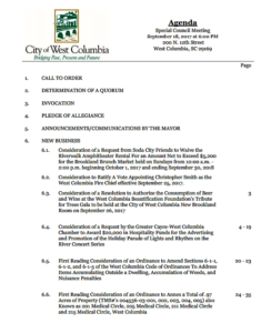 West Columbia City Council to meet at 6 p.m. Monday
