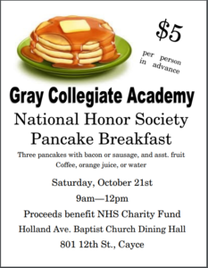 National Honor Society Pancake Breakfast to be held Oct. 21