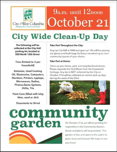 City of West Columbia hosts Fall Clean-Up Day, Community Garden Planting Oct. 21