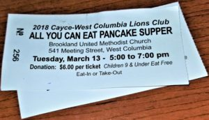 Cayce-West Columbia Lions Club Pancake Supper is Tuesday, 5-7 p.m. – Brookland UMC