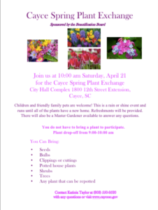 Cayce Spring Plant Exchange is Saturday