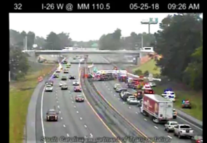 5-car crash on I-26 in West Columbia slows traffic Friday morning