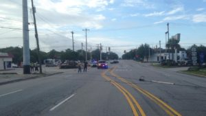 Downedpower line slows traffic on 12th Street in Cayce Monday morning