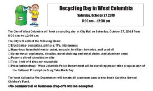 Recycling Day at West Columbia City Hall is Saturday, from 8 a.m.-'til-Noon