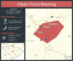 Flash flood warning was issued overnight for Cayce, West Columbia, more rain forecast