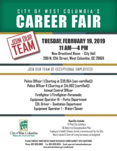 City of West Columbia Career Fair is from 11 a.m. until 4 p.m. Tuesday