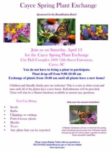 Cayce Spring Plant Exchange is April 13