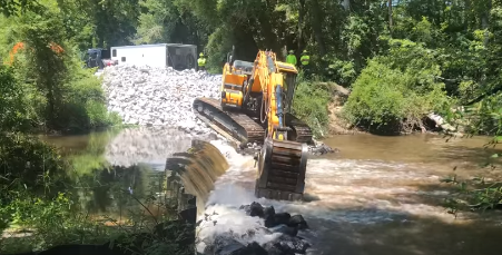Video link of Congaree Creek Dam coming down