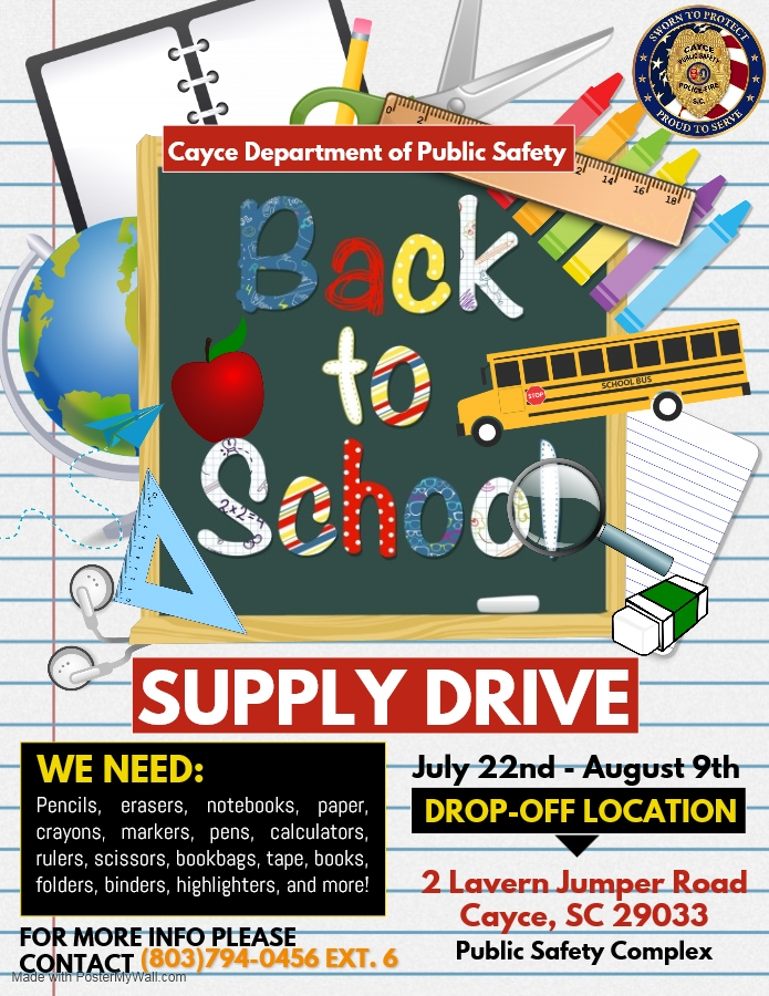 Cayce Public Safety Department conducting School Supply Drive