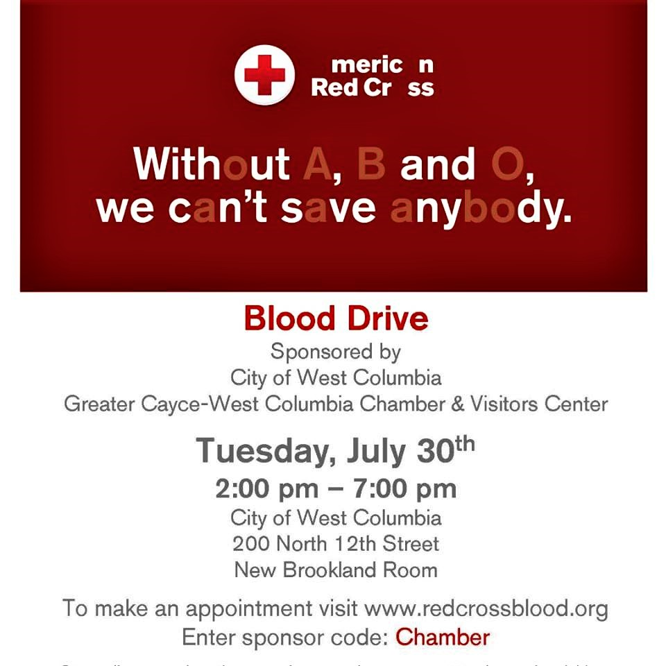 REMINDER – City of West Columbia Blood Drive is Tuesday – 2 p.m. – 7 p.m.
