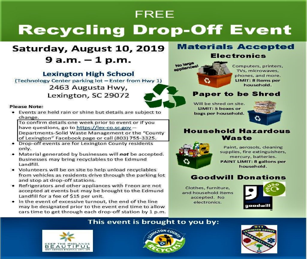 REMINDER – Next Recycling Drop-off Saturday is Aug. 10