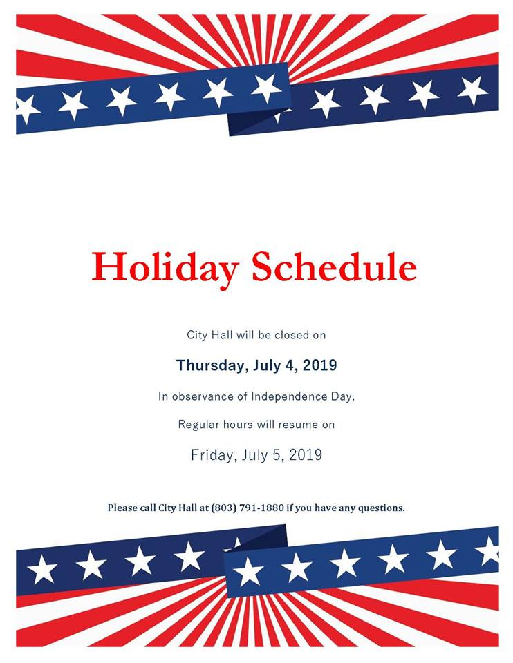 West Columbia City Hall will be closed on Thursday, July 4