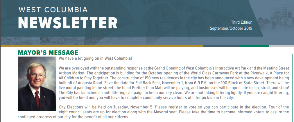City of West Columbia releases Sept-Oct Newsletter