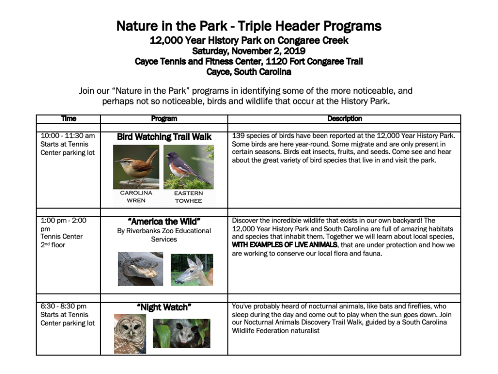 Cayce presents 3 Nature in the 12,000 Year History Park events, Saturday