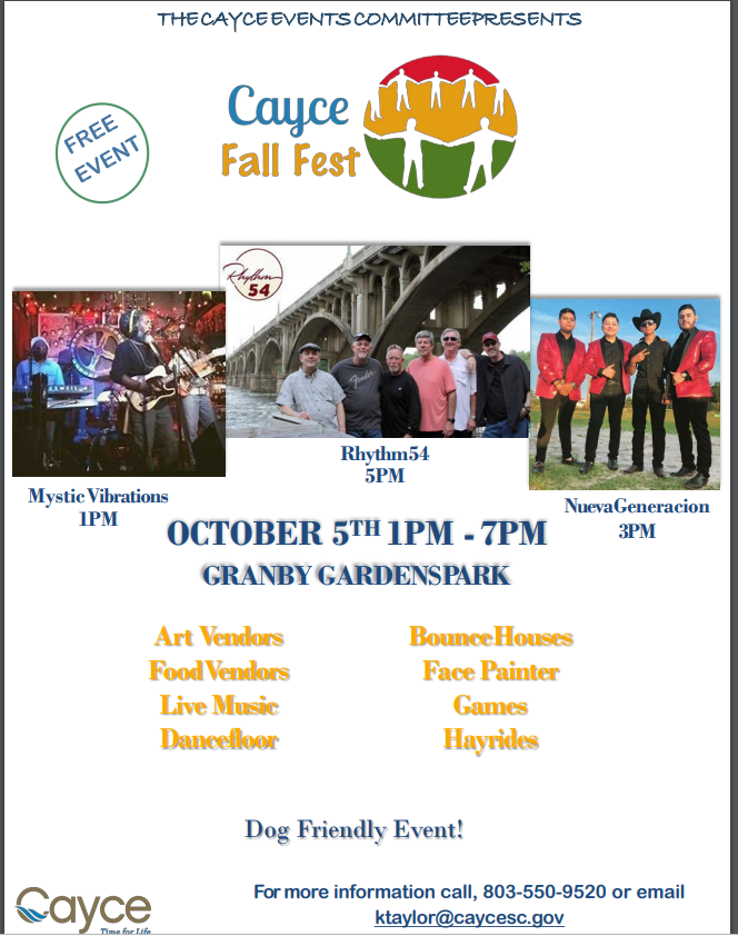 Cayce Fall Fest is Saturday from 1 -7 p.m., at Granby Gardens Park
