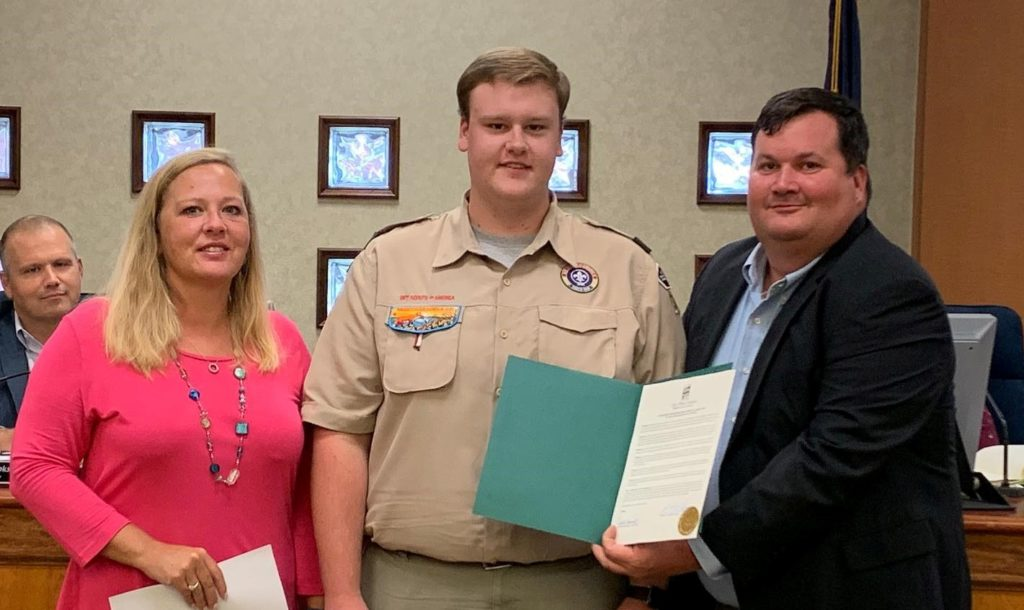 Eagle Scout Rhett Galloway installs benches in West Columbia parks, recognized by city council
