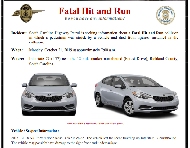 Troopers looking for car involved in fatal hit-and-run on I-77 in Columbia, Monday
