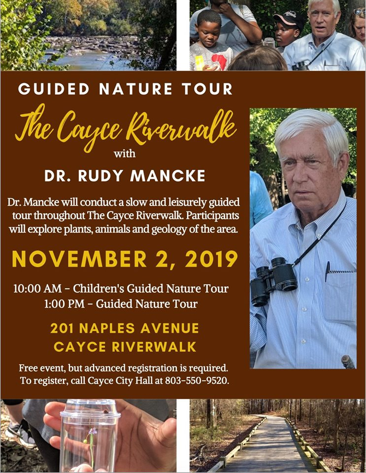 Dr. Rudy Mancke to conduct a Guided Nature Tour on Cayce Riverwalk