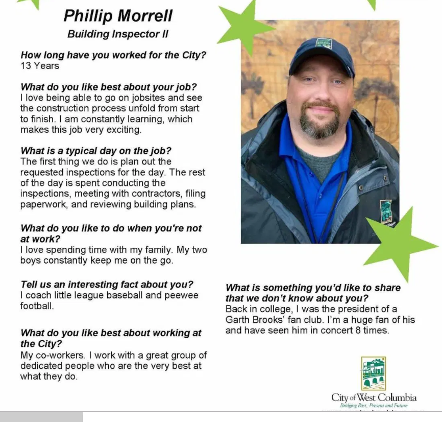 West Columbia Employee Spotlight is on Building Inspector Phillip Morrell