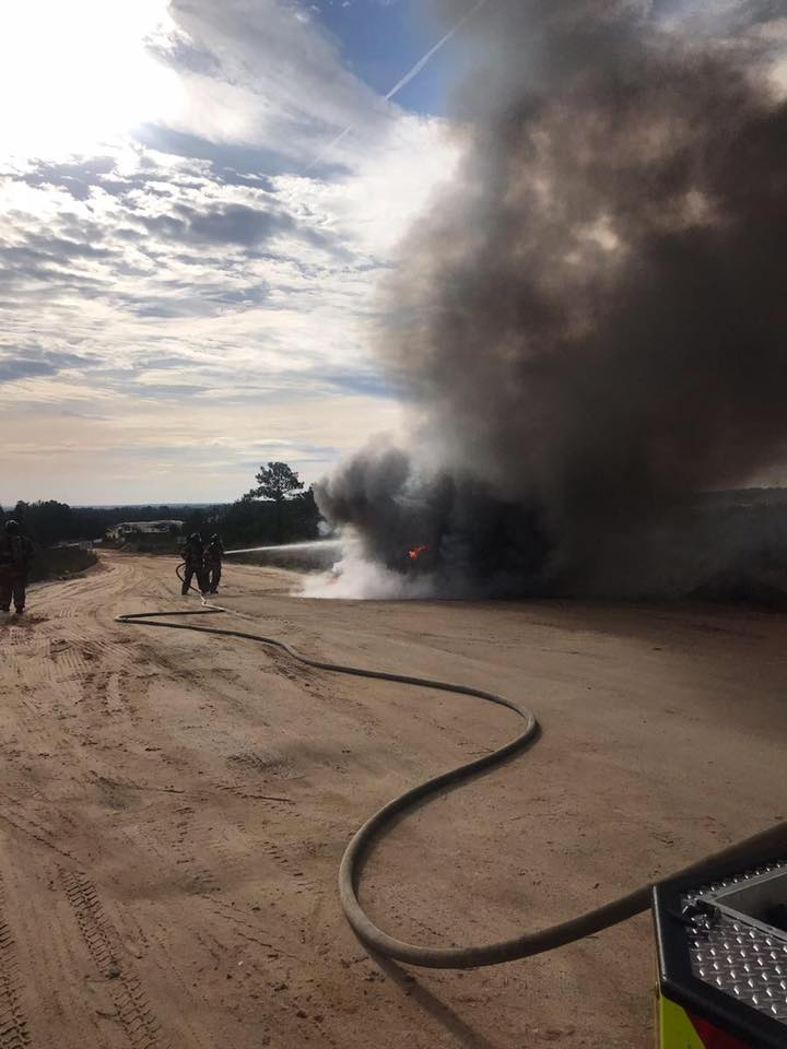 Lexington County Fire Services respond to dump truck fire
