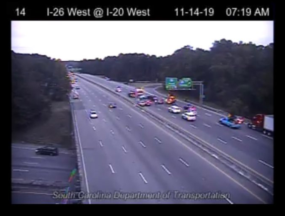 8-car crash on I-26 – Snow, ice reported on I-20, Thursday