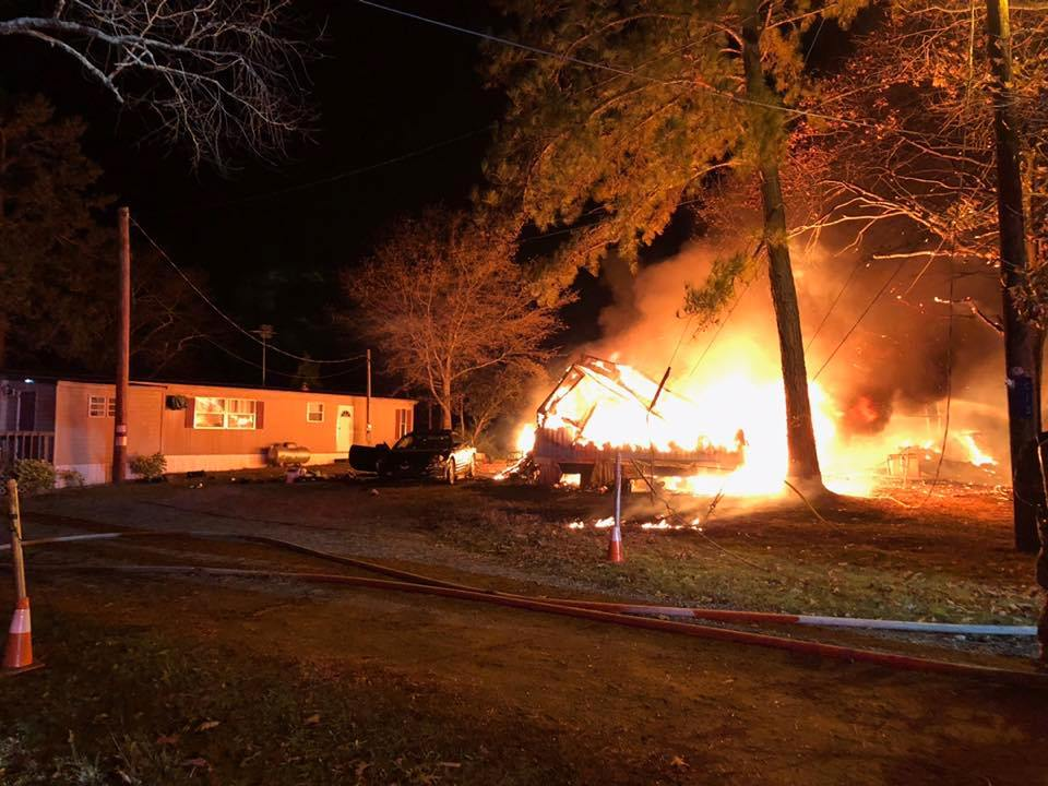 Fire damages mobile homes on Jakes Landing Road