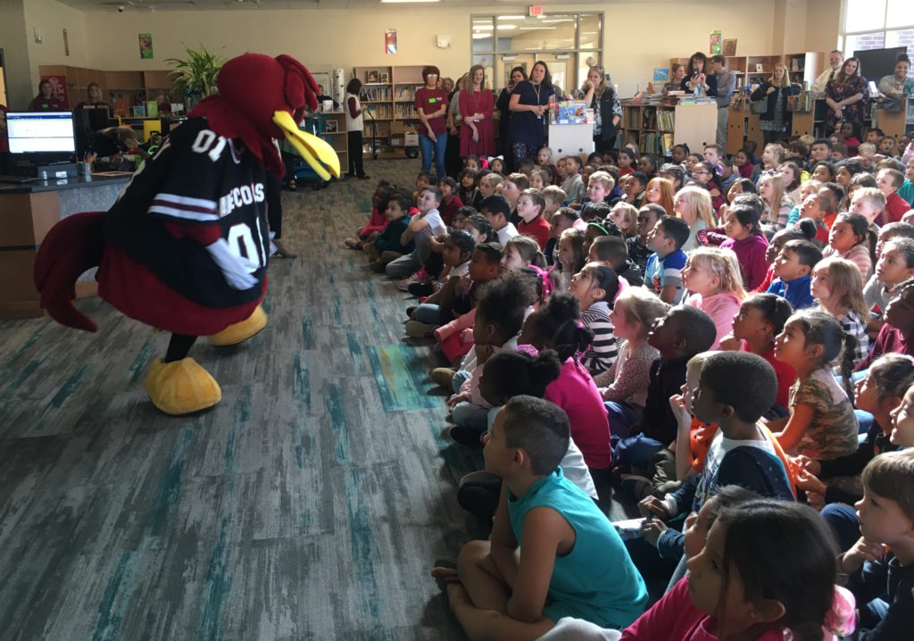 Cocky's Reading Express stops at Riverbank Elementary