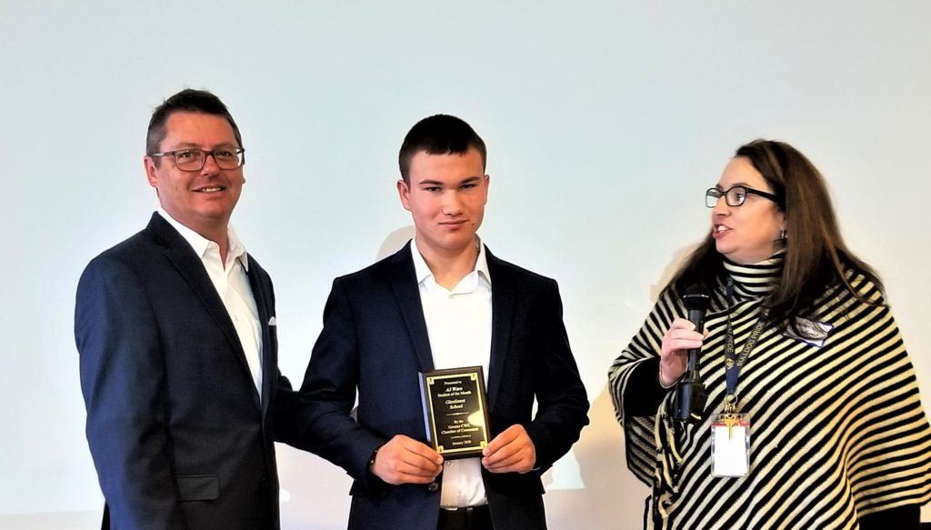 AJ Ware of Glenforest School is Chamber's Student-of-the-month