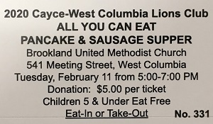 Cayce-West Columbia Lions Club Pancake and Sausage Supper is Feb. 11