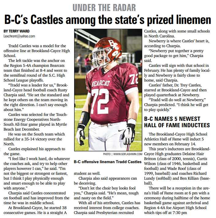 Brookland-Cayce Lineman Tradd Castles featured in the Lexington County Chronicle