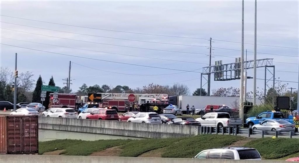 Overturned vehicle blocks Sunset Blvd. at I-26, Wednesday morning