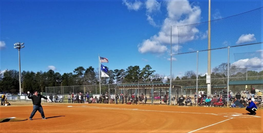 West Columbia Mayor Tem Miles throws first pitch to begin 2020 Cayce-West Columbia Dixie Youth Baseball season